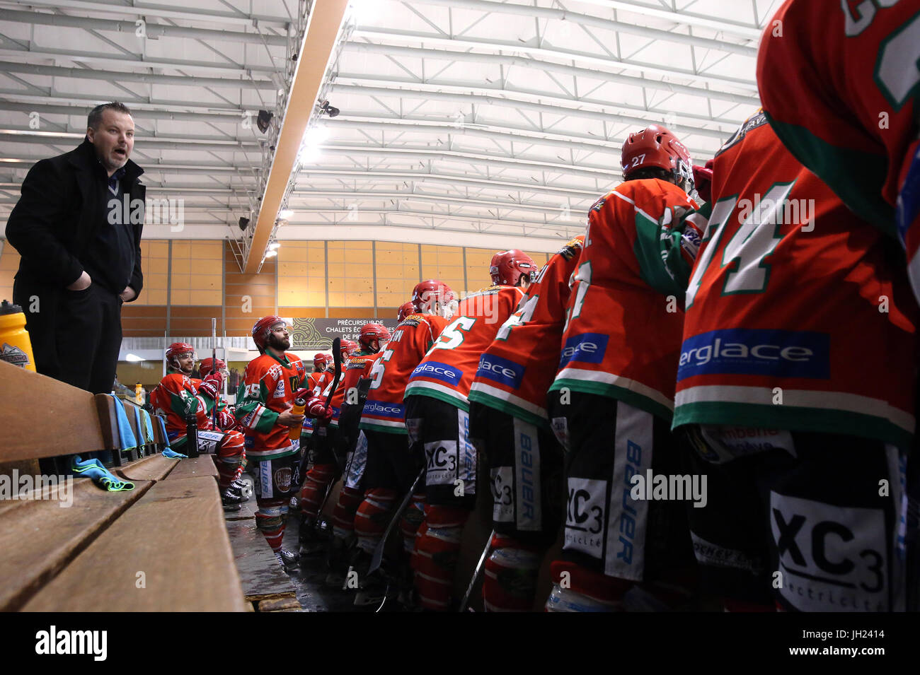 Ice Hockey match.  Coach.  France. - Stock Image