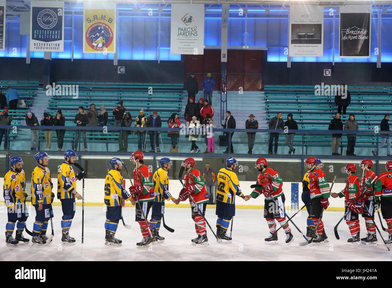 Ice Hockey match.  Hockey teams.  France. - Stock Image