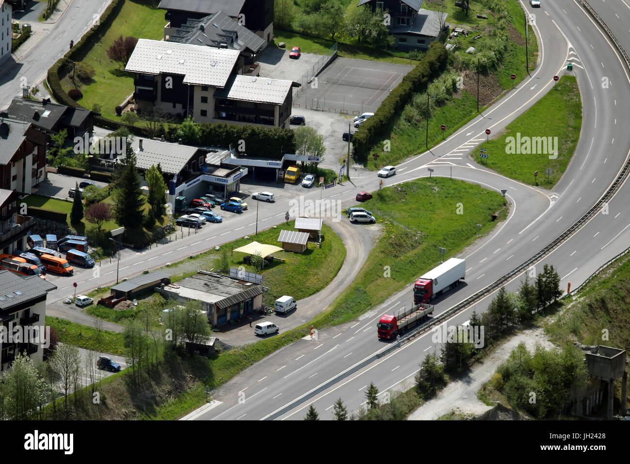 Chamonix valley. Highway.  France. - Stock Image