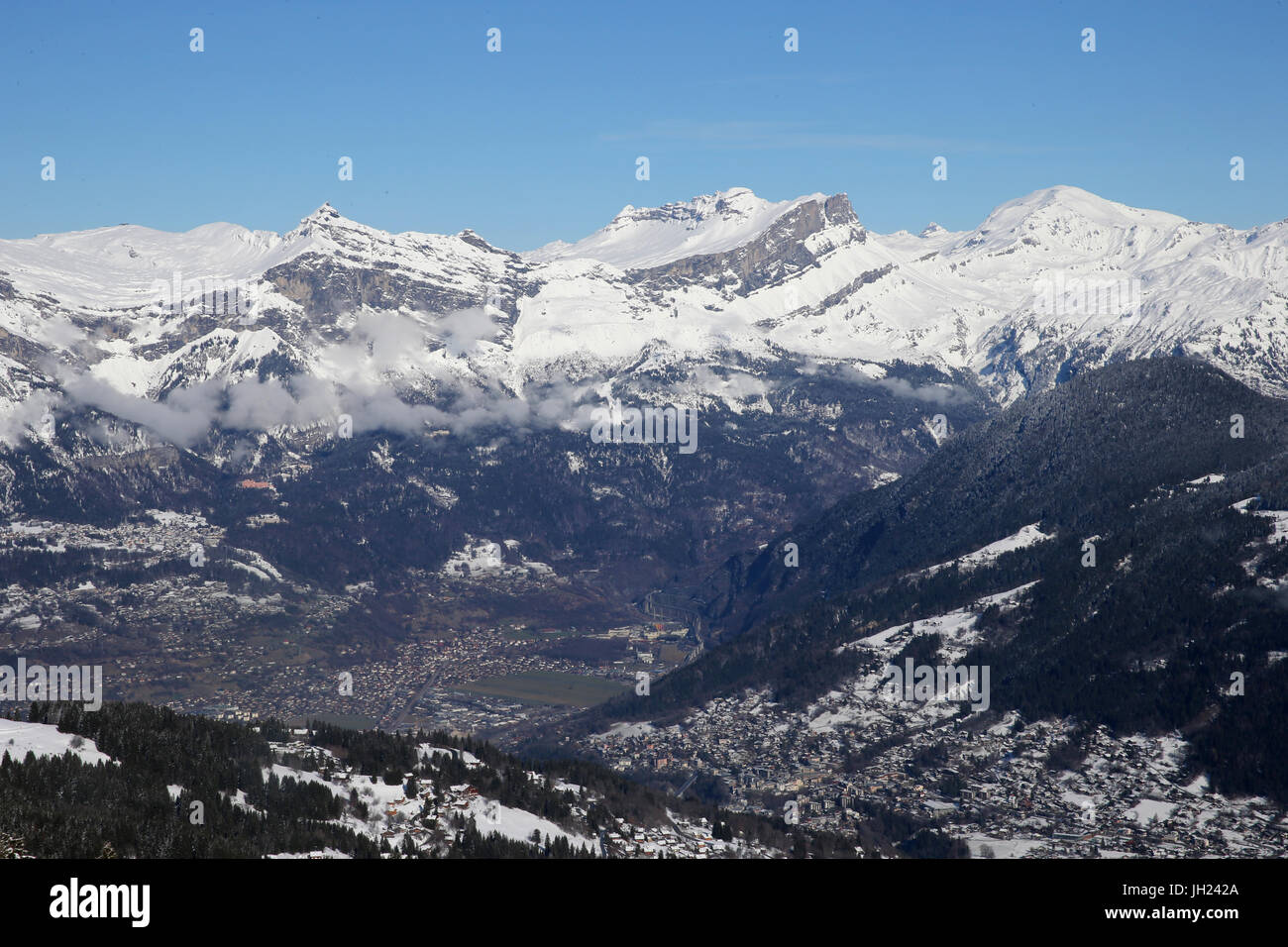 Winter landscape in the Mont Blanc Massif with the vue of Saint-Gervais.    France. - Stock Image