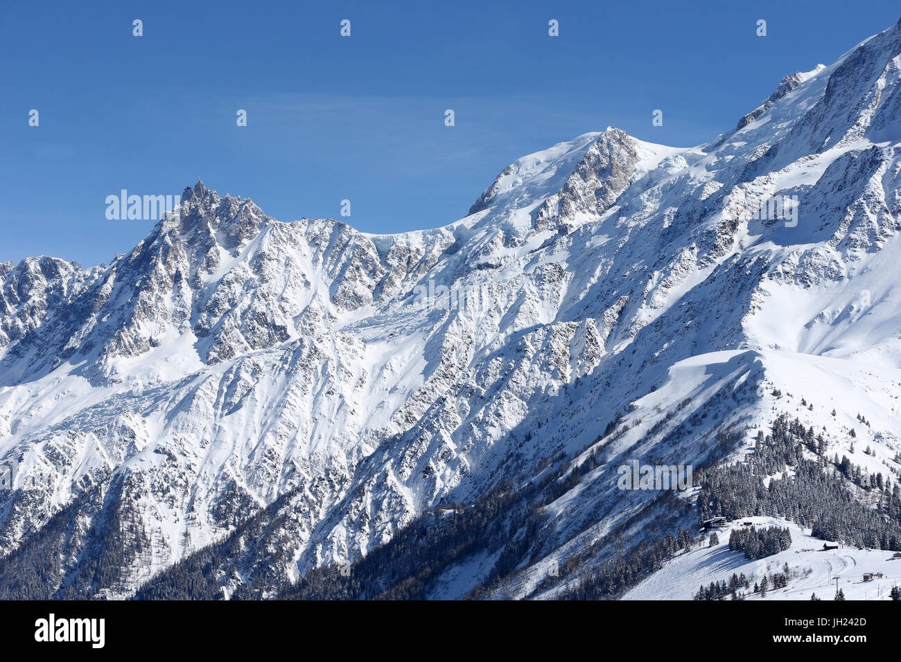 French Alps.  Mont-Blanc massif. Aiguille du Midi.  France. - Stock Image