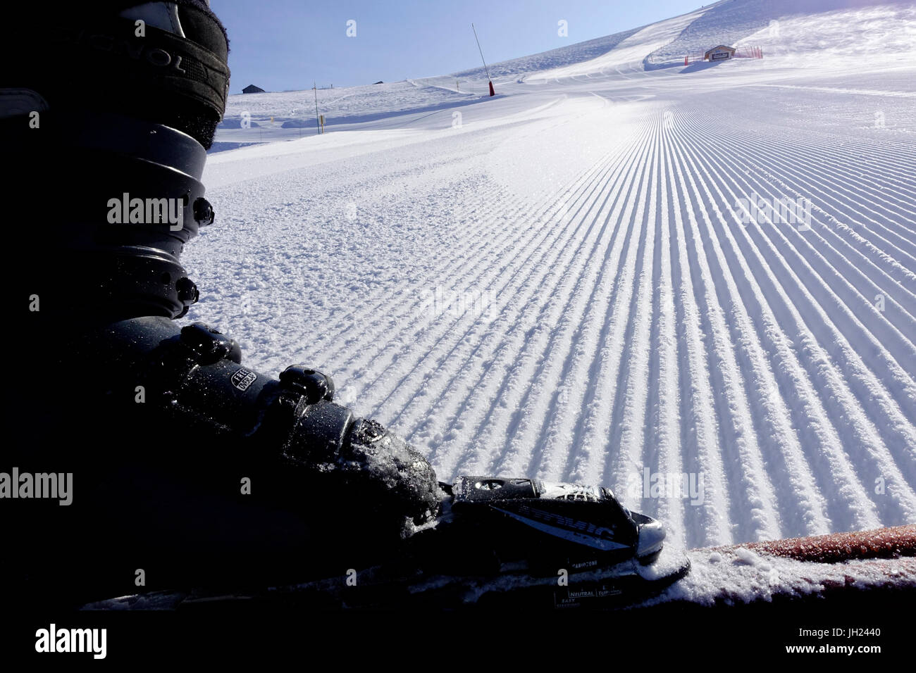 French Alps.  Groomed Ski Piste.  France. - Stock Image