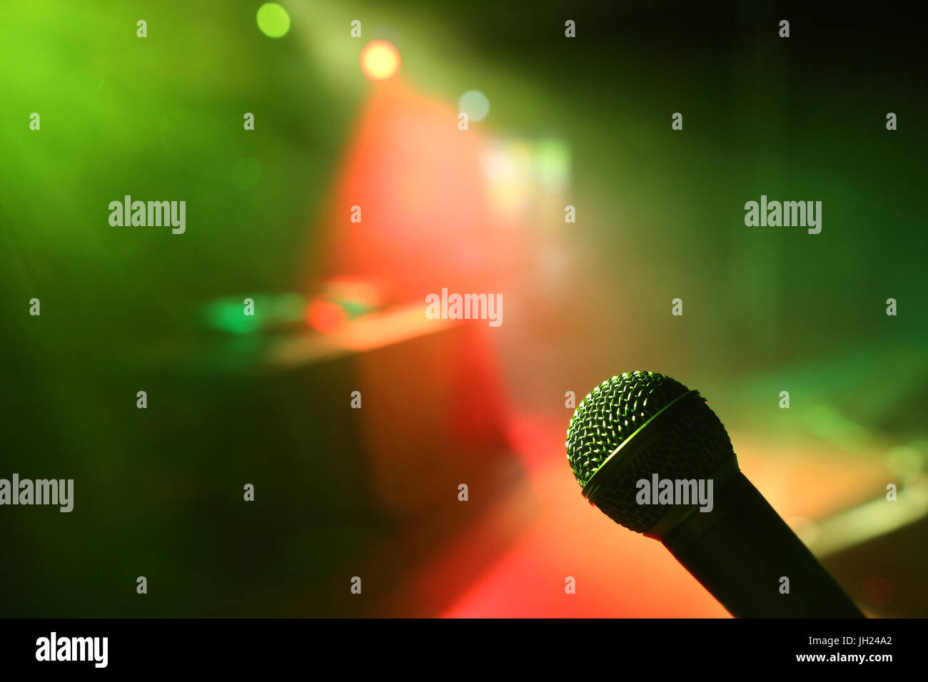 Les Houches Reggae festival.   Microphone.  France. - Stock Image