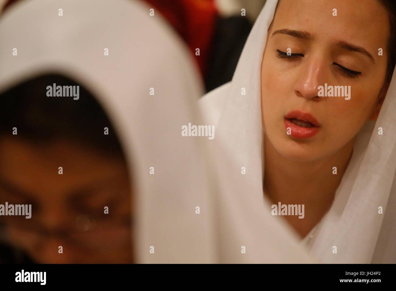 Sufi muslims celebrating Laylat al Qadr during Ramadan at the Paris great mosque. France. - Stock Image