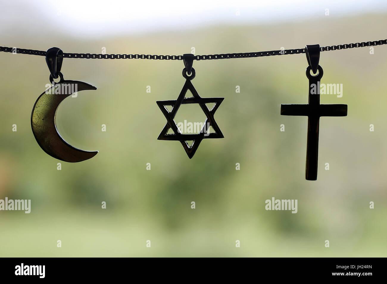 Symbols of islam, islam and christianity. - Stock Image