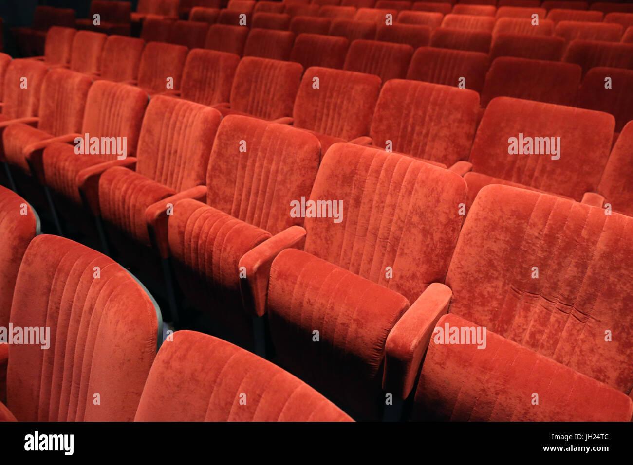 Fauteuils. Salle de spectacle. France. - Stock Image