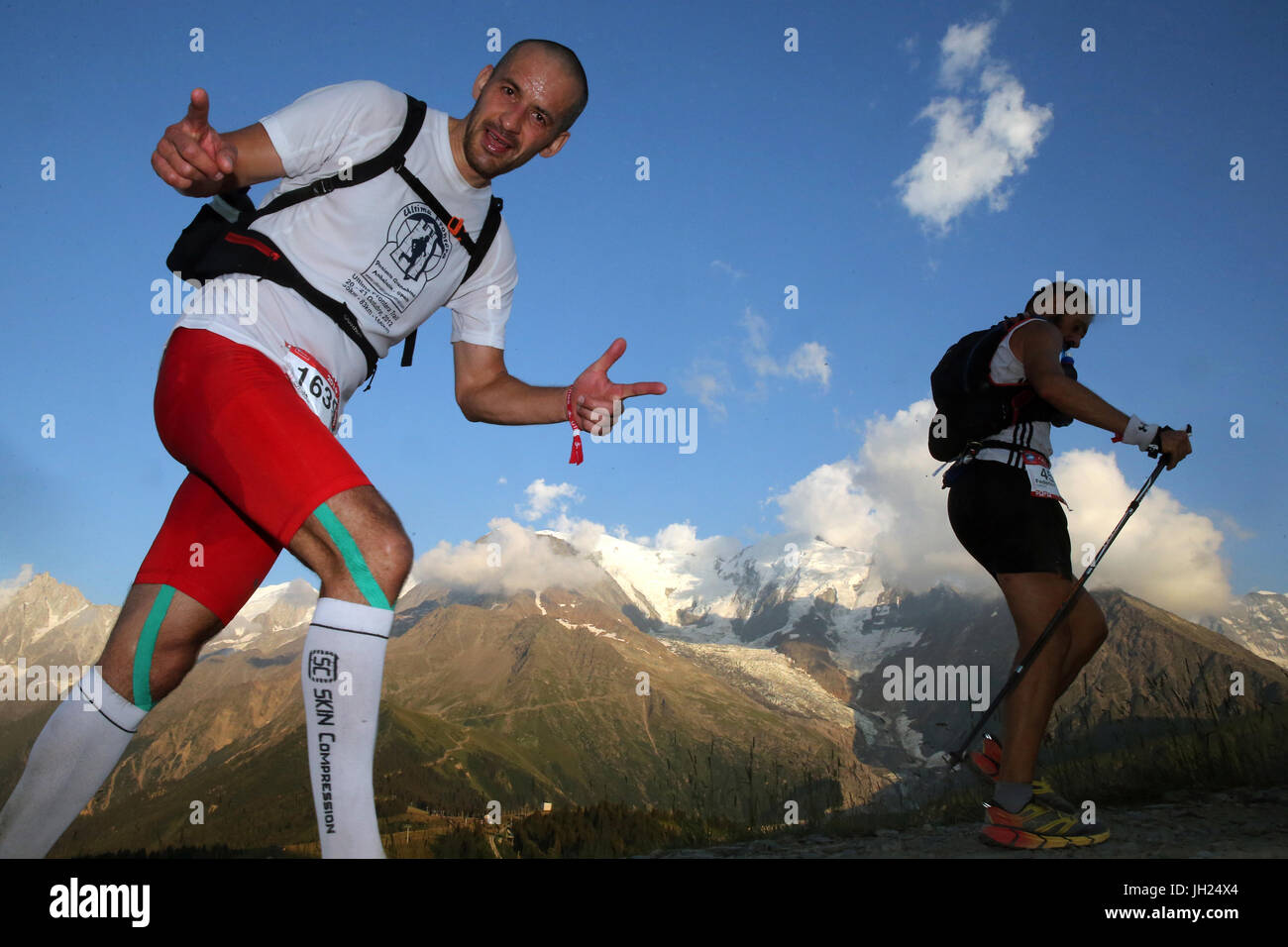 The Ultra-Trail du Mont-Blanc. A a single-stage mountain ultramarathon in the Alps. France. - Stock Image