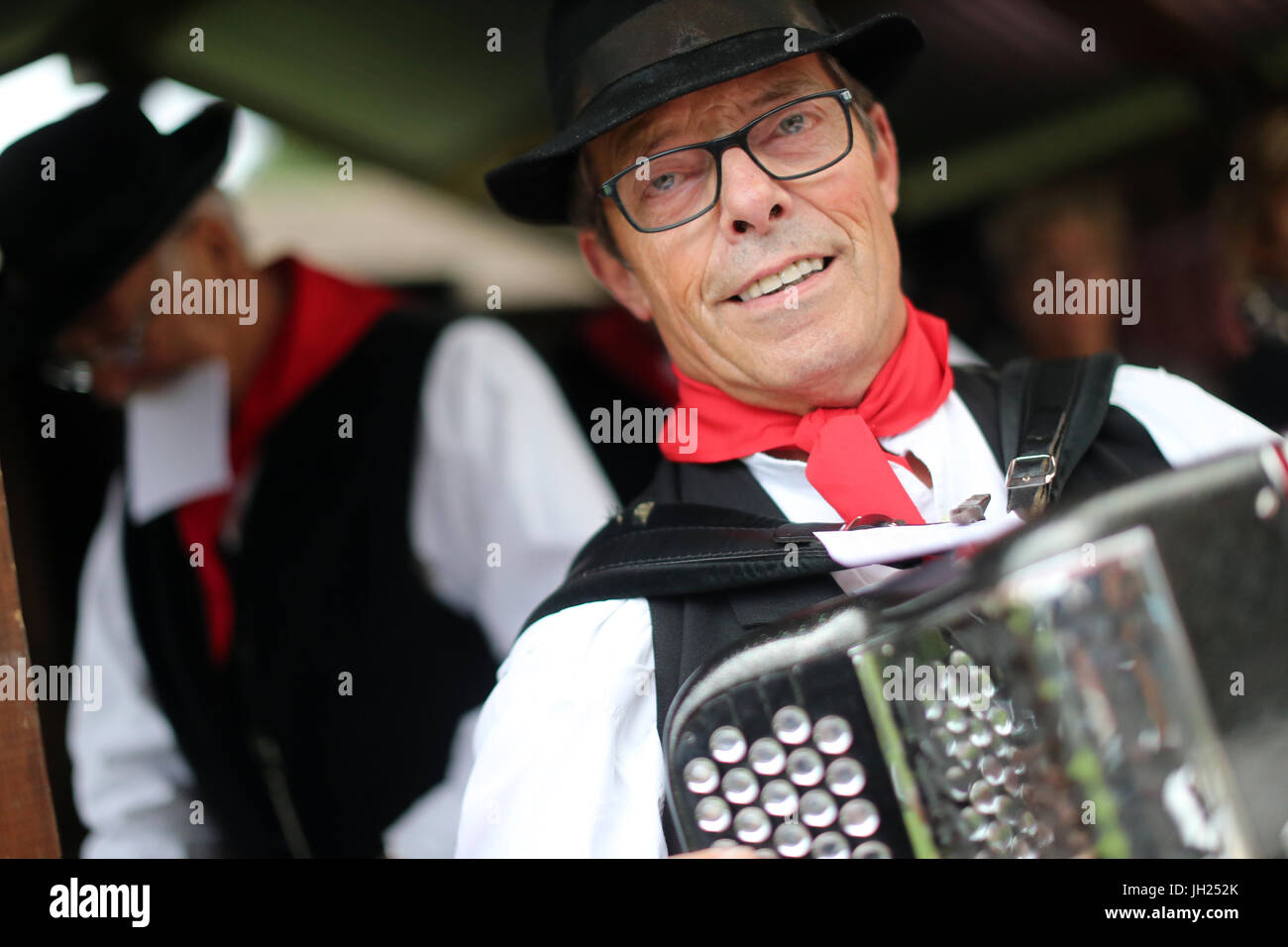 Old Domancy craft festival.  Accordion folk band.  France. - Stock Image