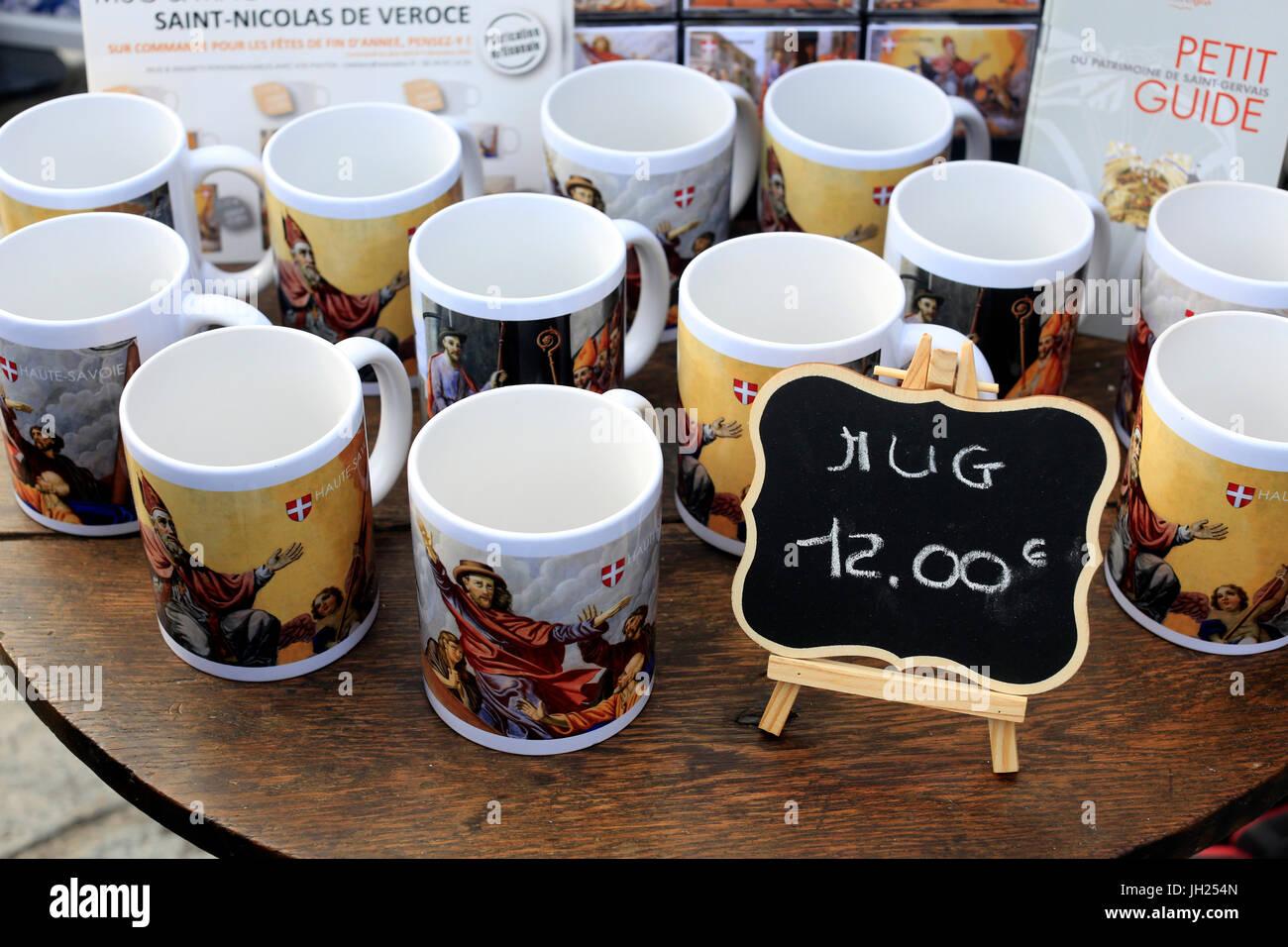Mugs for sale on market.  France. - Stock Image