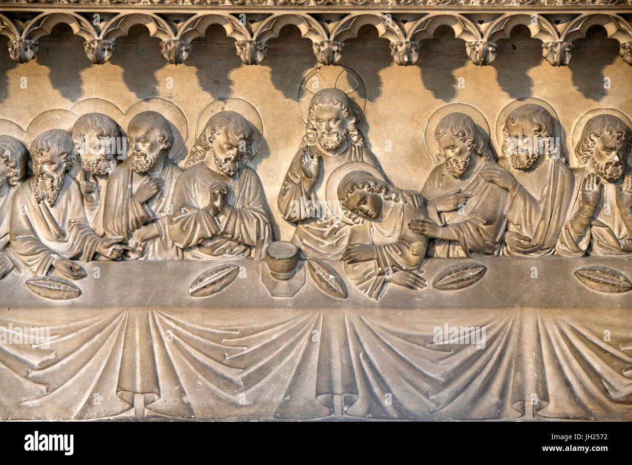 Notre-Dame cathedral, Rouen. Last Supper relief. France. - Stock Image