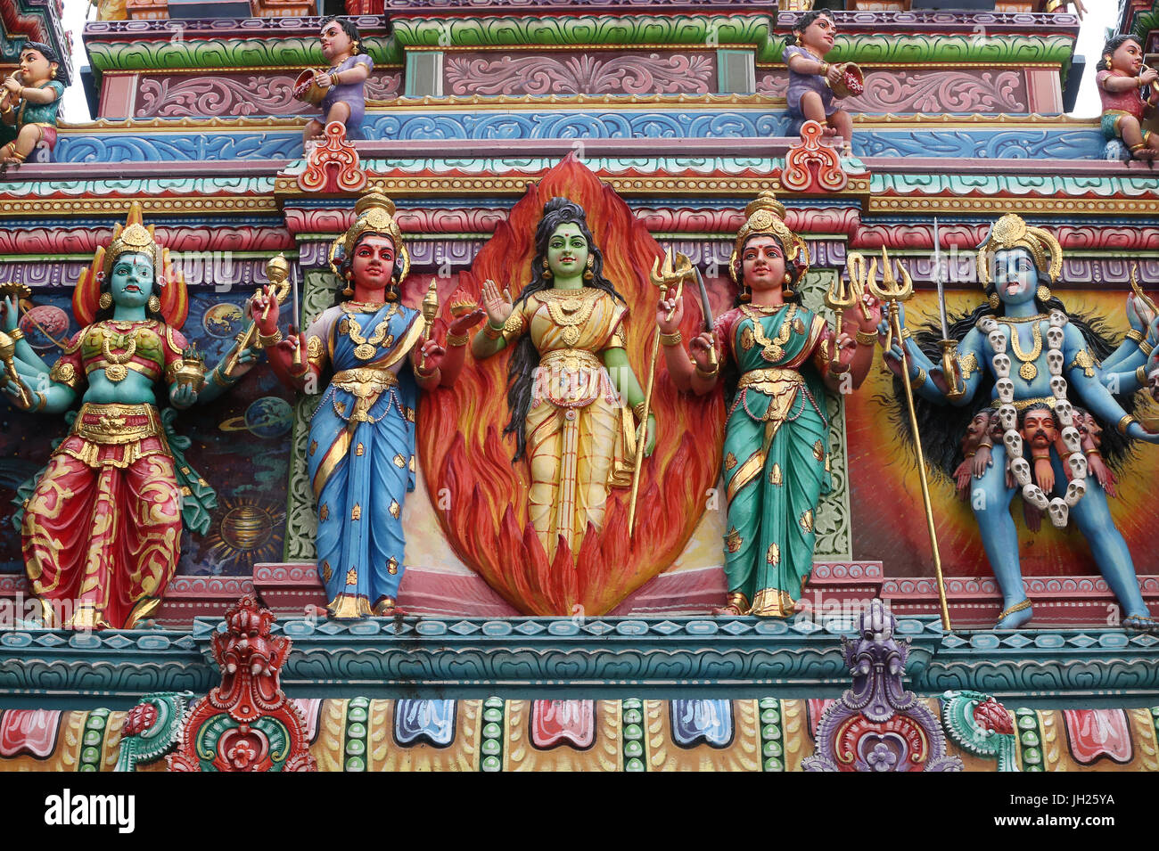 Sri Veeramakaliamman Hindu Temple. Hindu deities. Singapore. Stock Photo