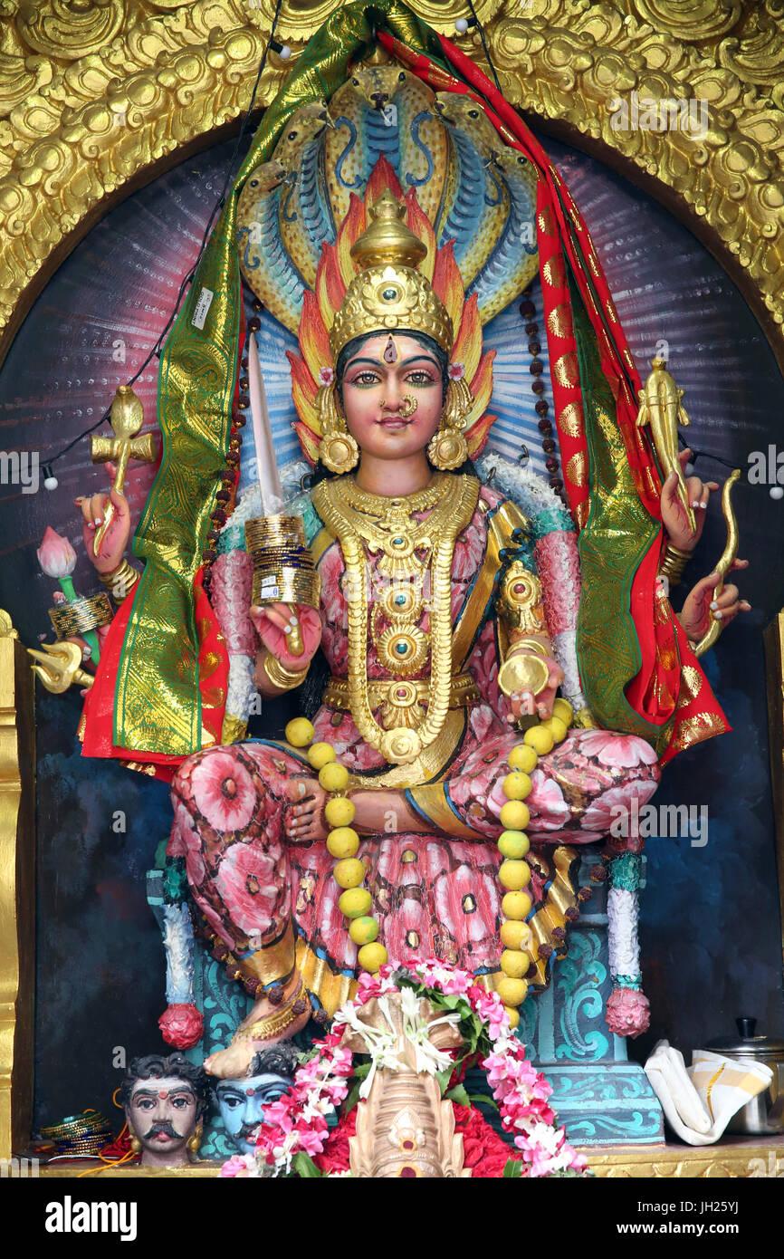 Sri Veeramakaliamman Hindu Temple.  Sri Mariamman, the South Indian Hindu goddess of rain. Singapore. - Stock Image