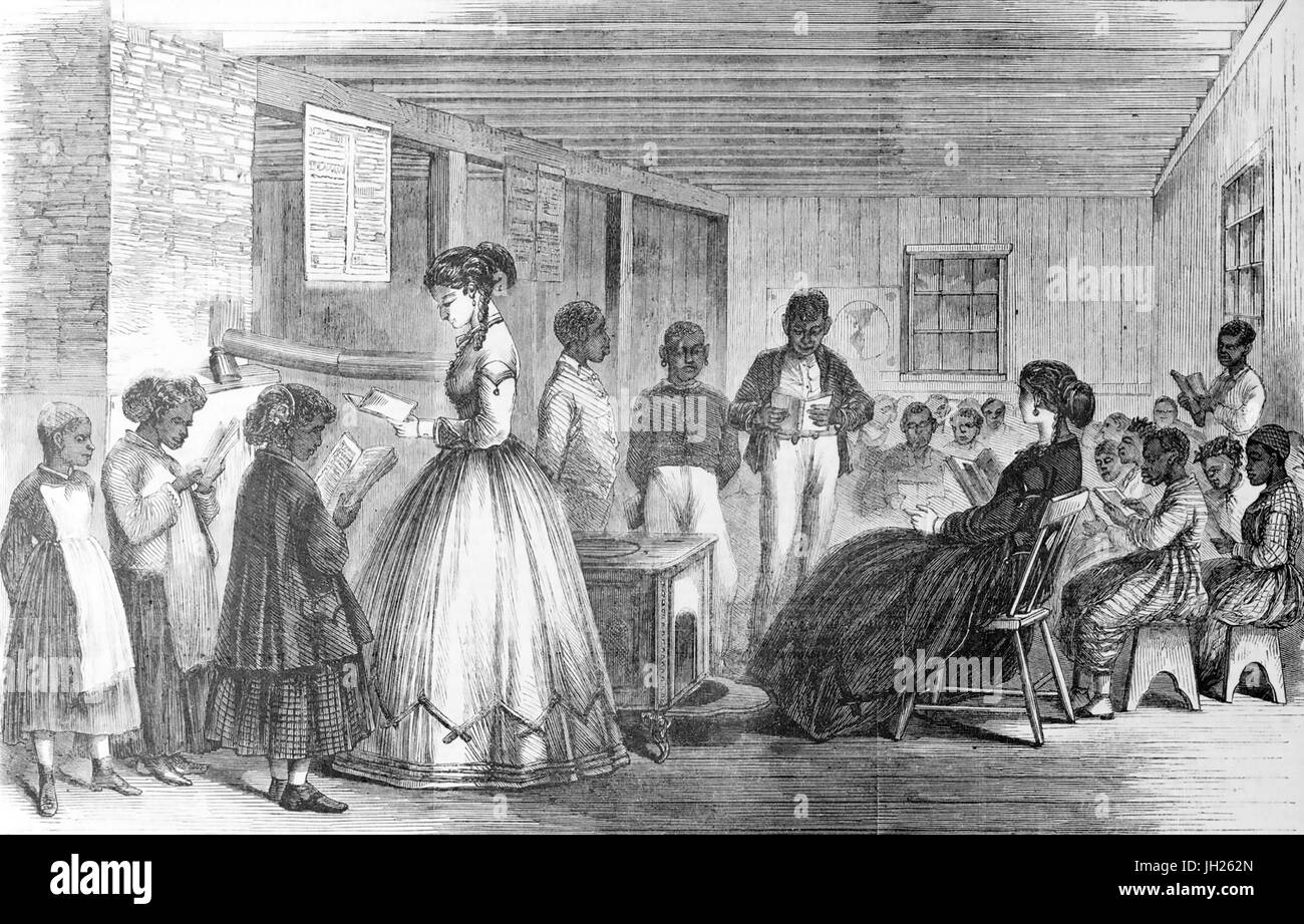 FREEDMEN'S BUREAU  in Richmond , Virginia, included a school run by the Misses Cooke. From Frank Leslie's - Stock Image