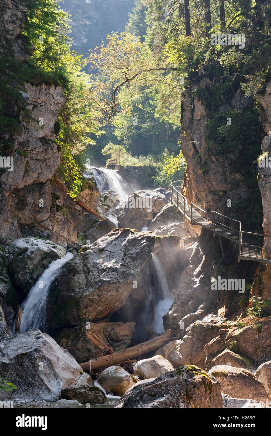 Waterfall in Poellat Gorge, Schwangau, Allgau, Schwaben, Bavaria, Germany, Europe - Stock Image