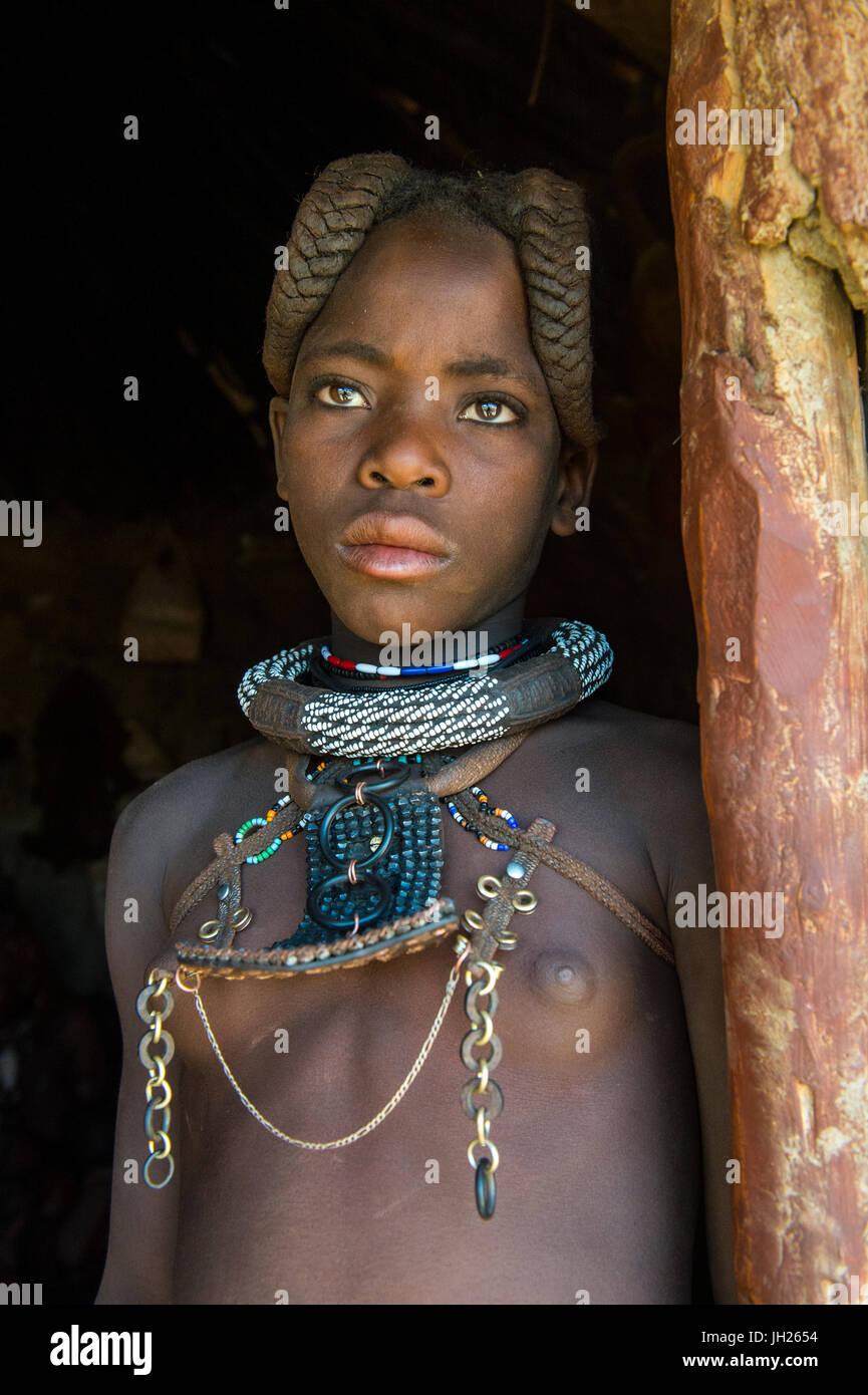 Very pretty Himba girl, Kaokoland, Namibia, Africa - Stock Image