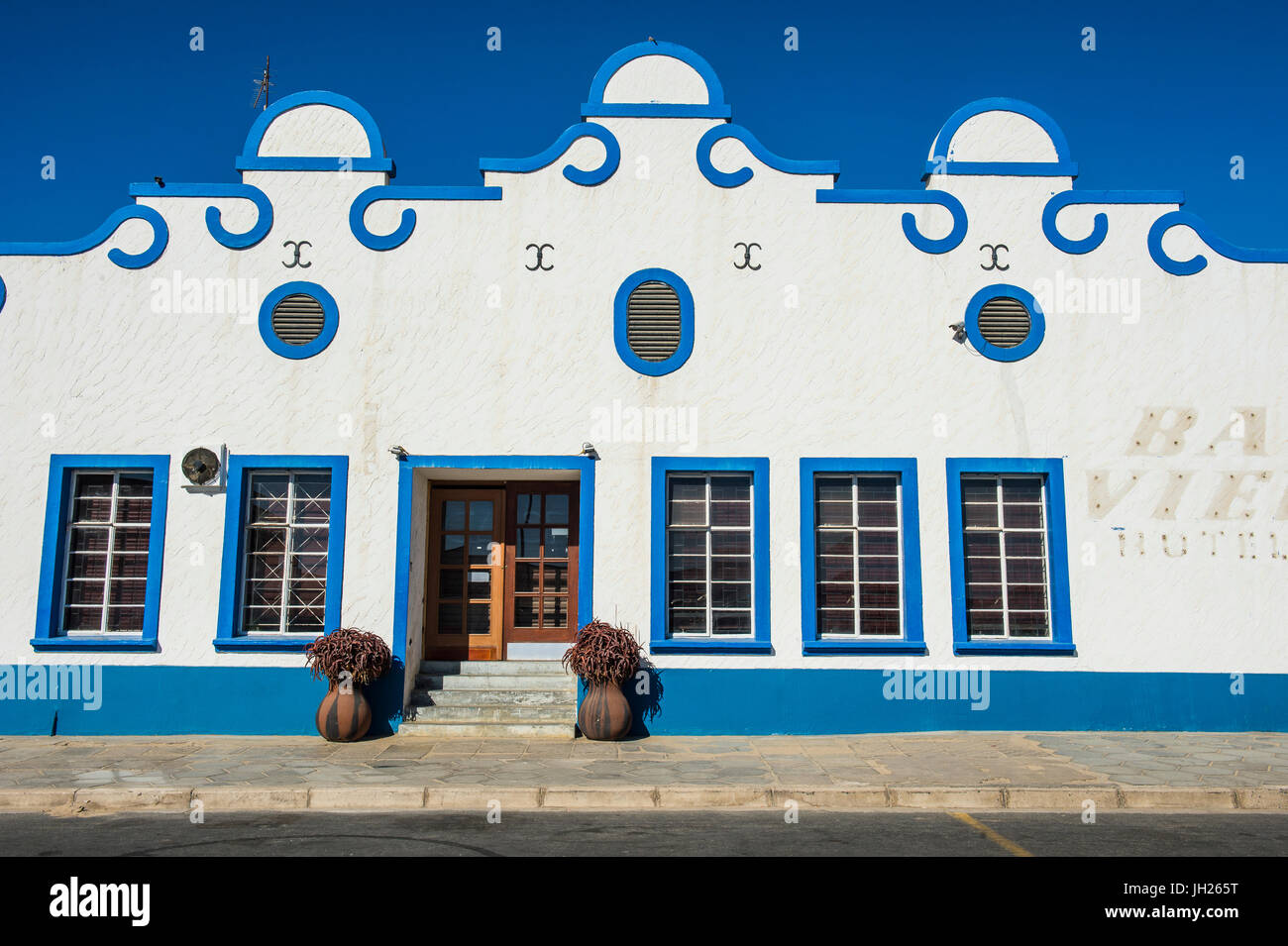 Colonial hotel in Luderitz, Namibia, Africa - Stock Image
