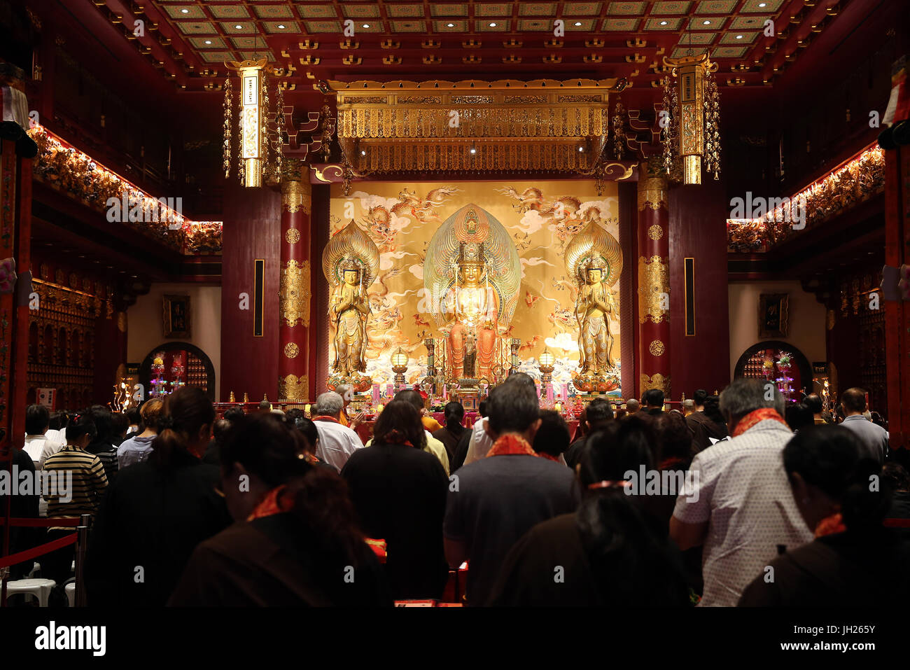 Buddha Tooth Relic Temple in Chinatown.  Ullambana ceremony. People hold ceremonies to welcome the ghosts and spirits. - Stock Image