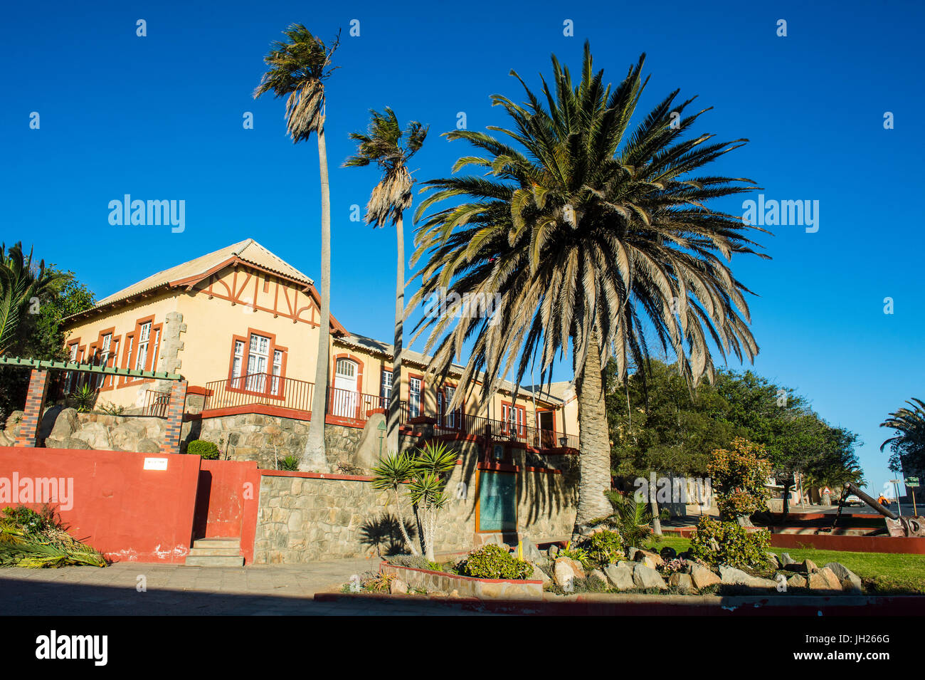 Old colonial German houses in Luderitz, Namibia, Africa - Stock Image