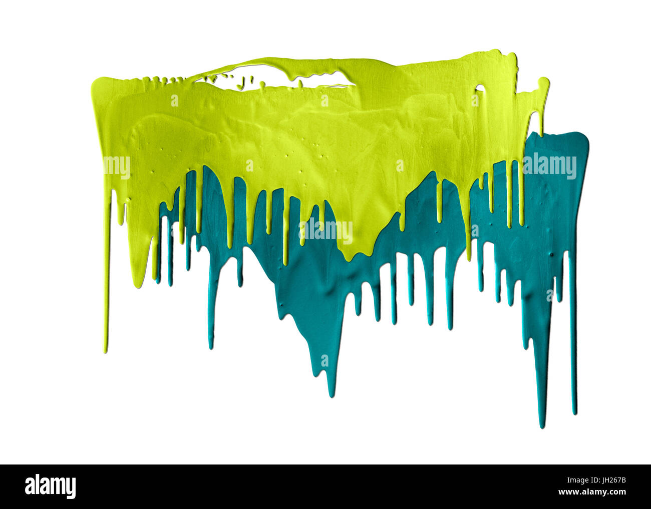 two shades of green paints dripping isolated on white background - Stock Image