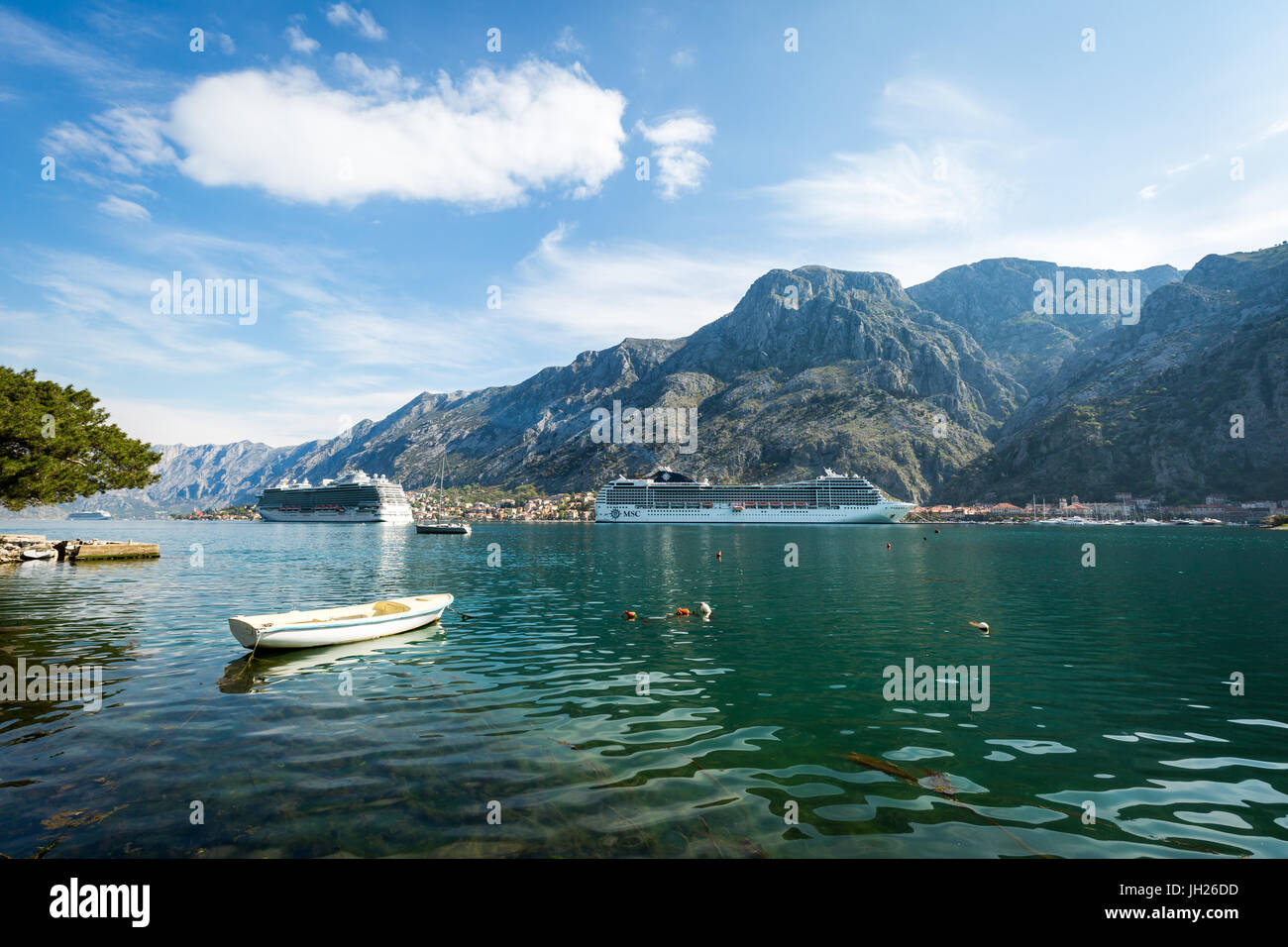 Cruise ships in the Bay of Kotor, UNESCO World Heritage Site Stock
