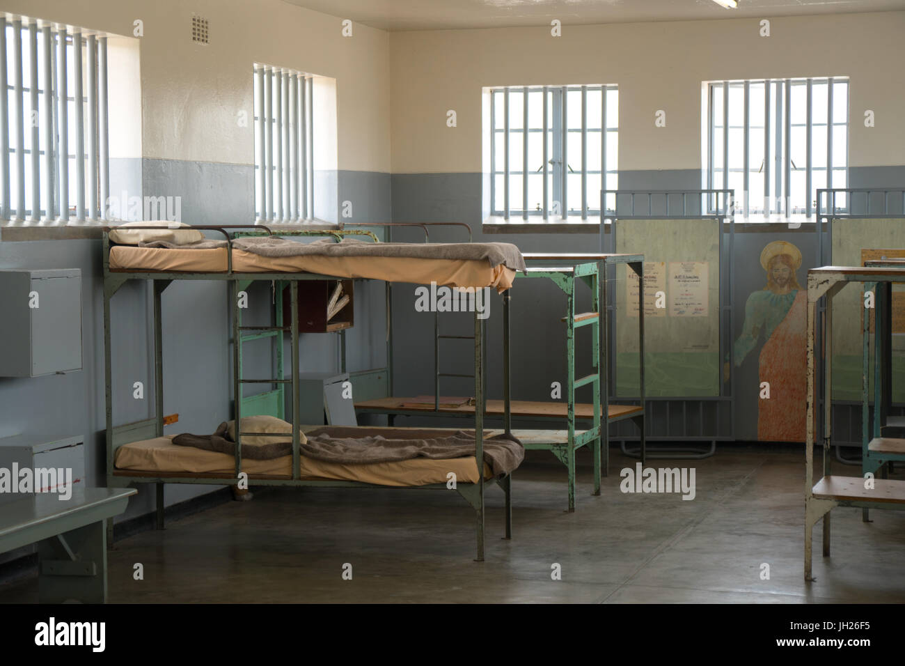 Dormitory with Christ mural, Robben Island, UNESCO World Heritage Site, Cape Town, South Africa, Africa - Stock Image