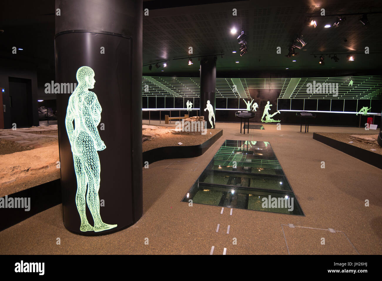 Remains of the Roman amphitheatre discovered in the basement of the Guildhall, London, EC2, England, United Kingdom, - Stock Image