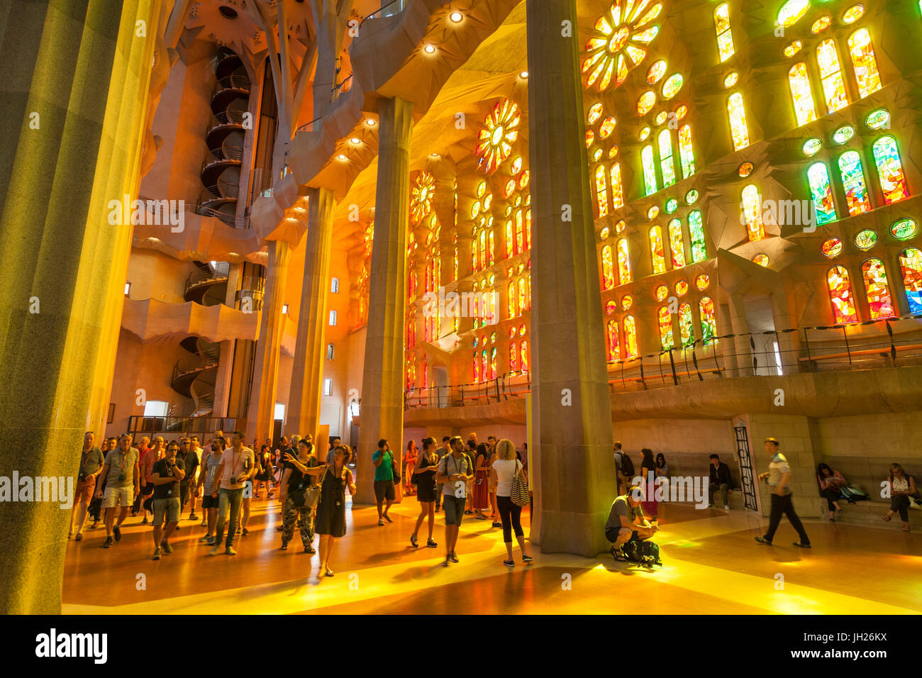 La Sagrada Familia Church Basilica Interior With Stained Glass