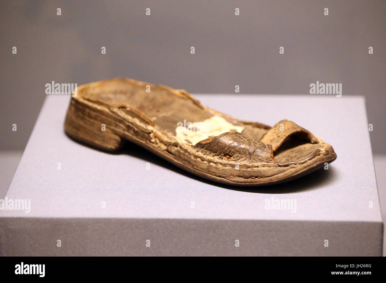 Asian Civlisations Museum.  Christianity in Asia: Sacred Art and Visual Splendour. Sole of the boot of Saint Francis - Stock Image