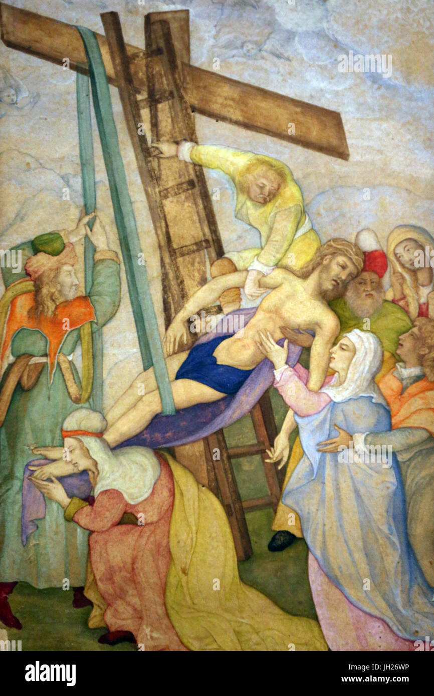 Asian Civlisations Museum.  Christianity in Asia: Sacred Art and Visual Splendour. The deposition from the cross. - Stock Image