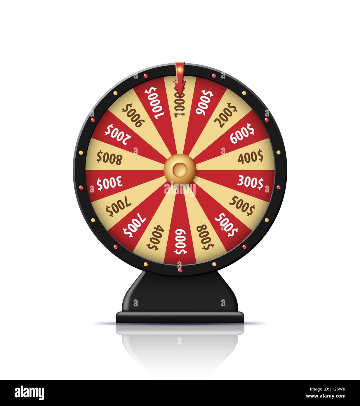 Black wheel of fortune 3d object isolated on white - Stock Vector