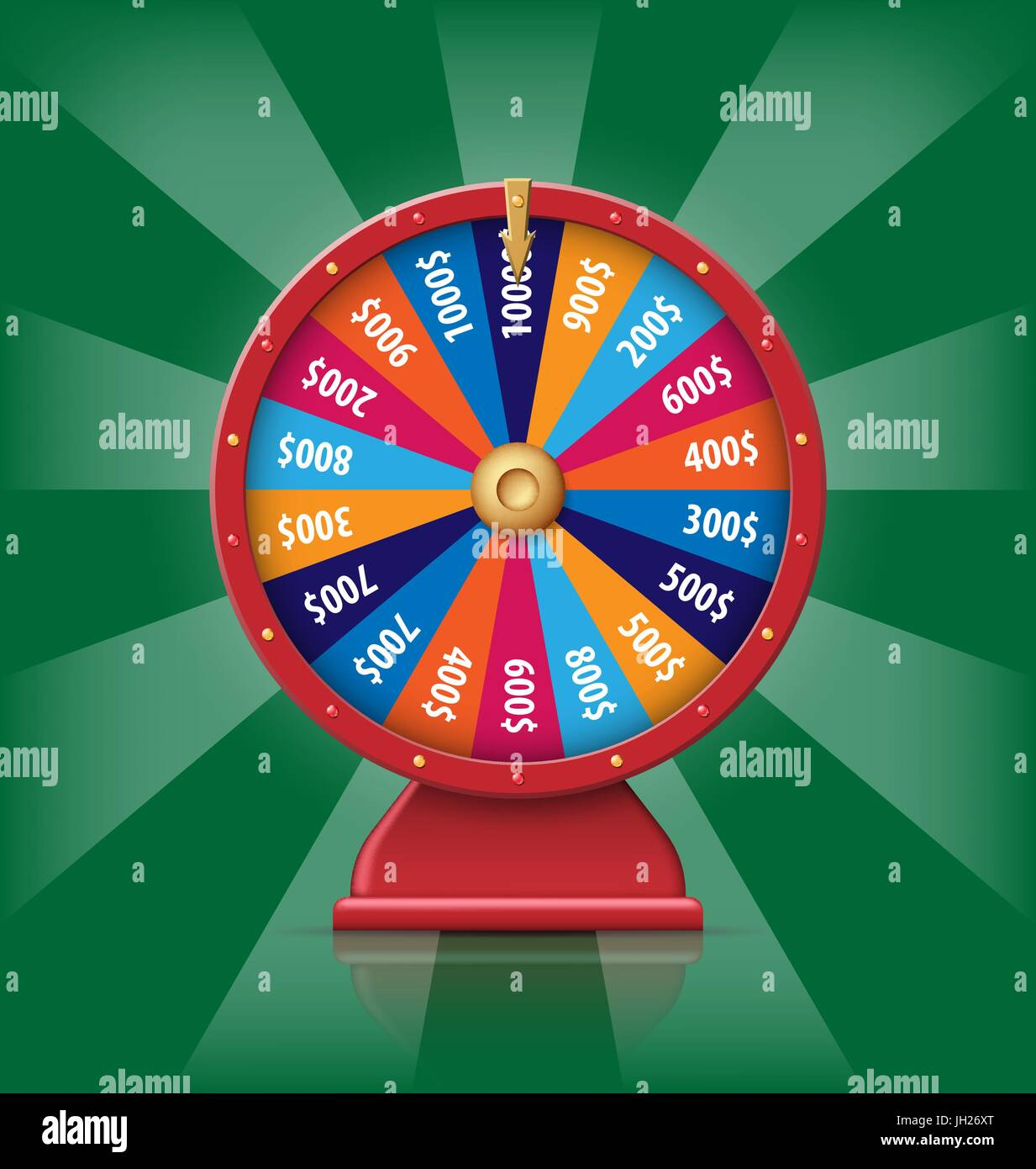 Realistic 3d spinning fortune wheel, lucky roulette vector illustration - Stock Vector