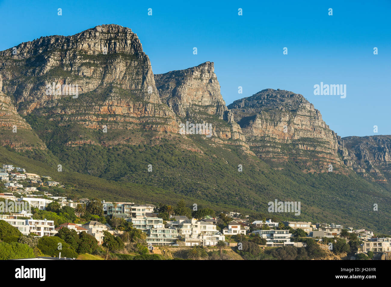 Camps Bay with the Table Mountain in the background, suburb of Cape Town, South Africa, Africa - Stock Image