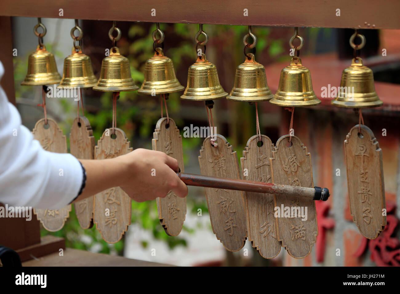Thian Hock Keng Temple.  Wishing bells.  Singapore. - Stock Image