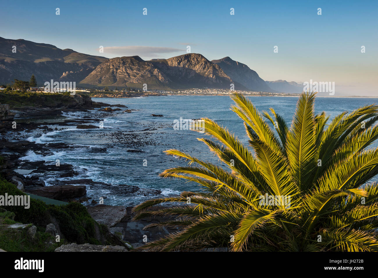 Hermanus Bay at sunset, Western Cape, South Africa, Africa - Stock Image