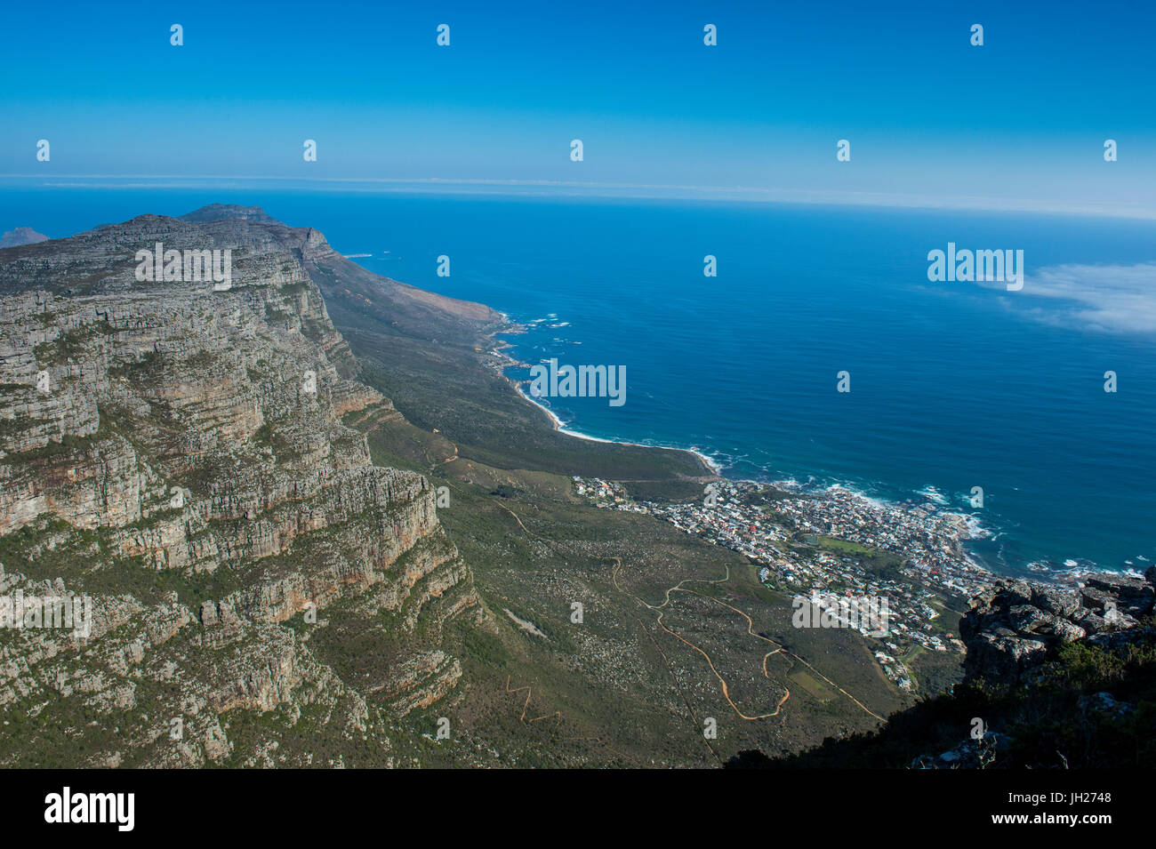 View over Camps Bay, Cape Town, Table Mountain, South Africa, Africa - Stock Image