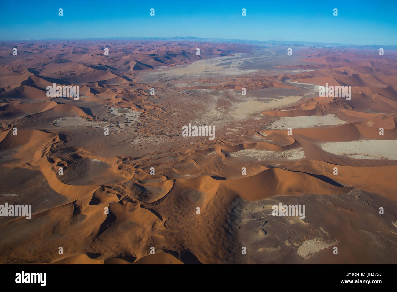 Aerial of a dead lake (vlei), in the Namib Desert, Namibia, Africa - Stock Image