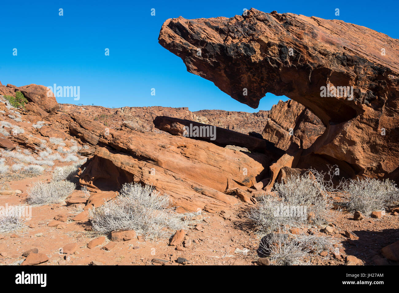 Interesting rock formation in Twyfelfontein, Namibia, Africa - Stock Image