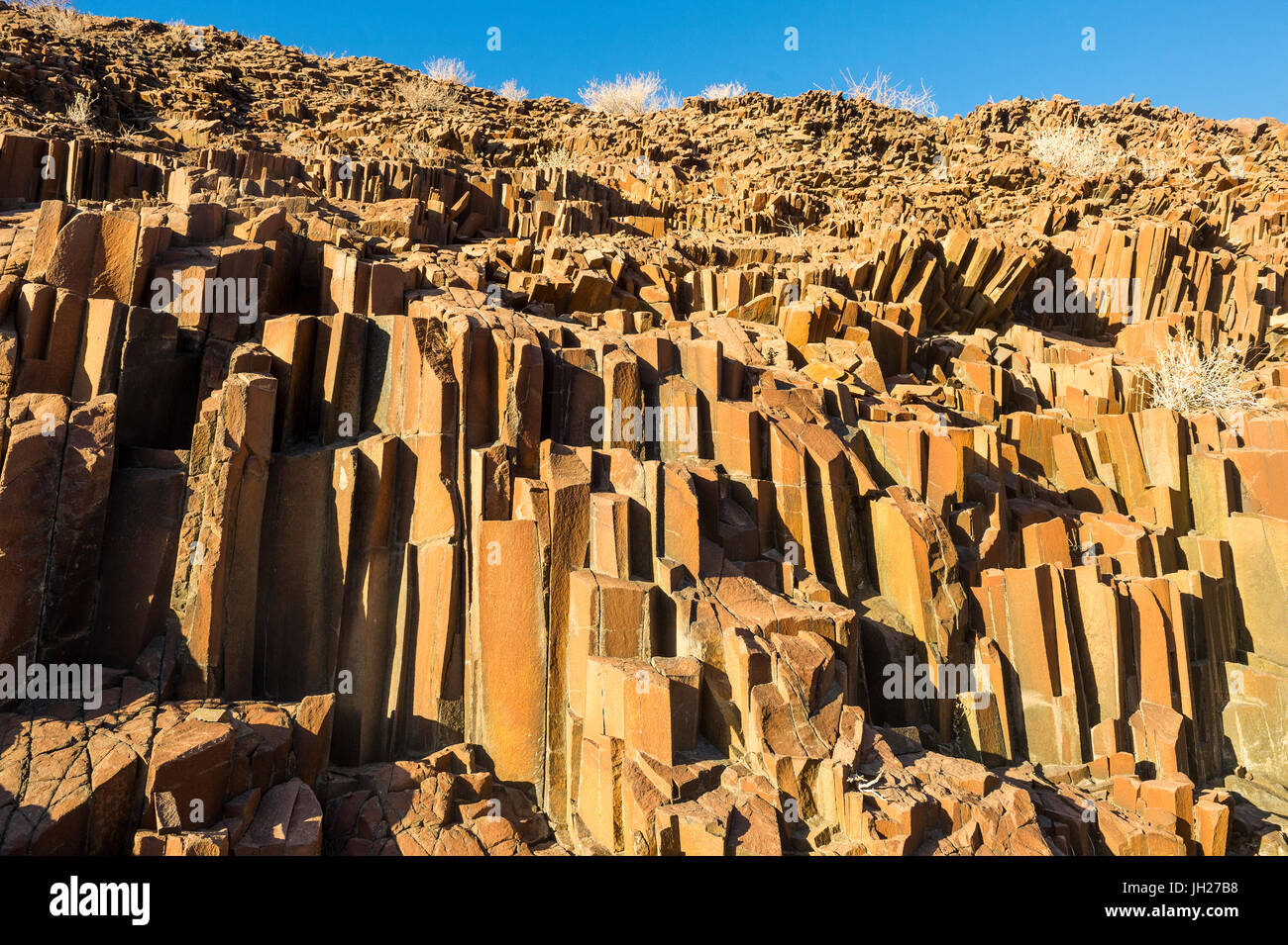 Unusual Organ Pipes monument, Twyfelfontein, Namibia, Africa - Stock Image