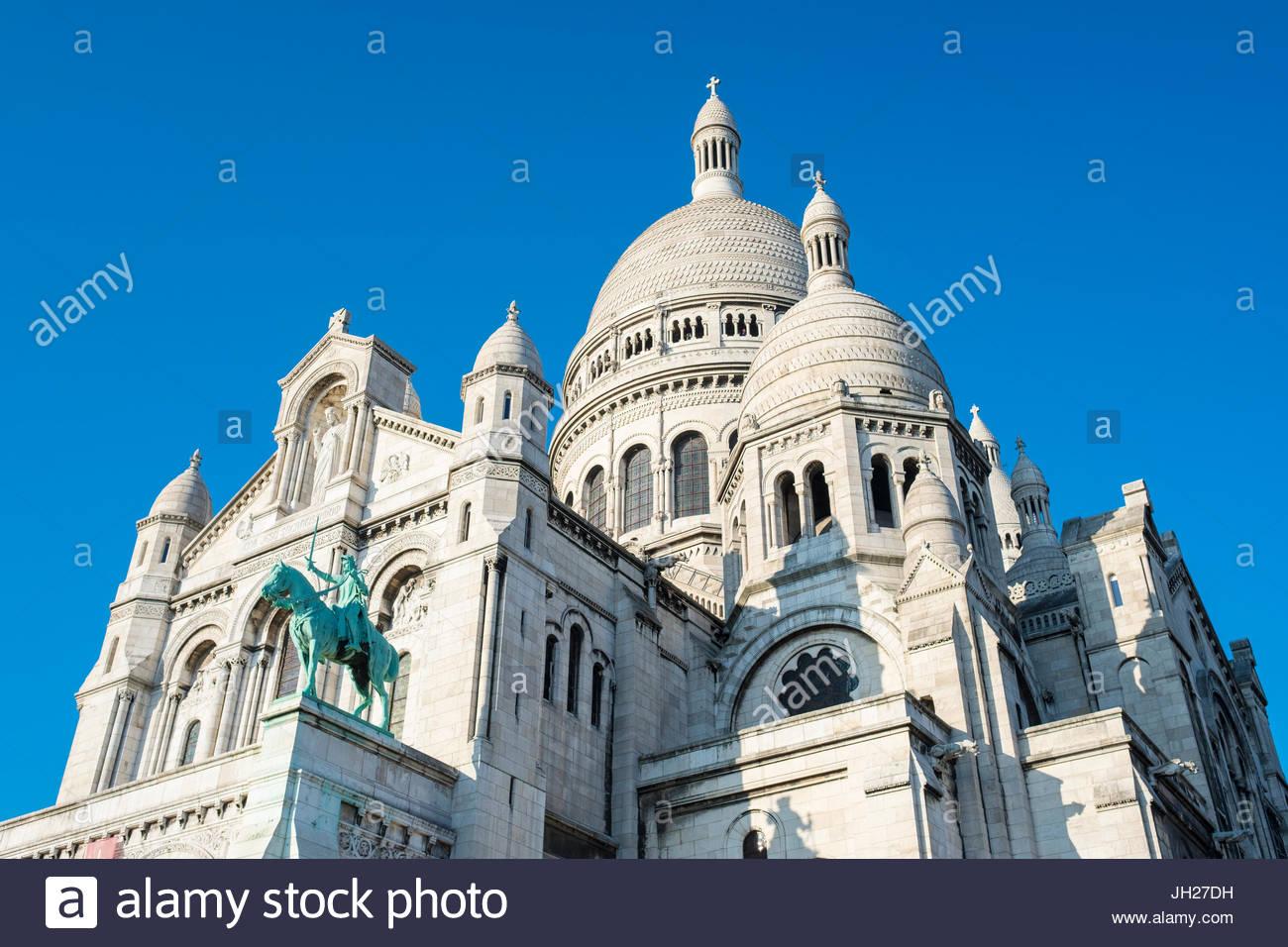 Basilica of Sacre Coeur, Montmartre, Paris, France, Europe - Stock Image