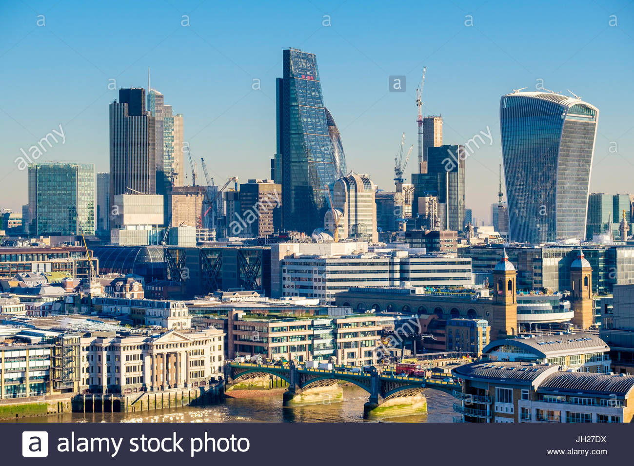 City of London skyline, modern buildings in Central London, including the Walkie Talkie and Cheesegrater, London, Stock Photo