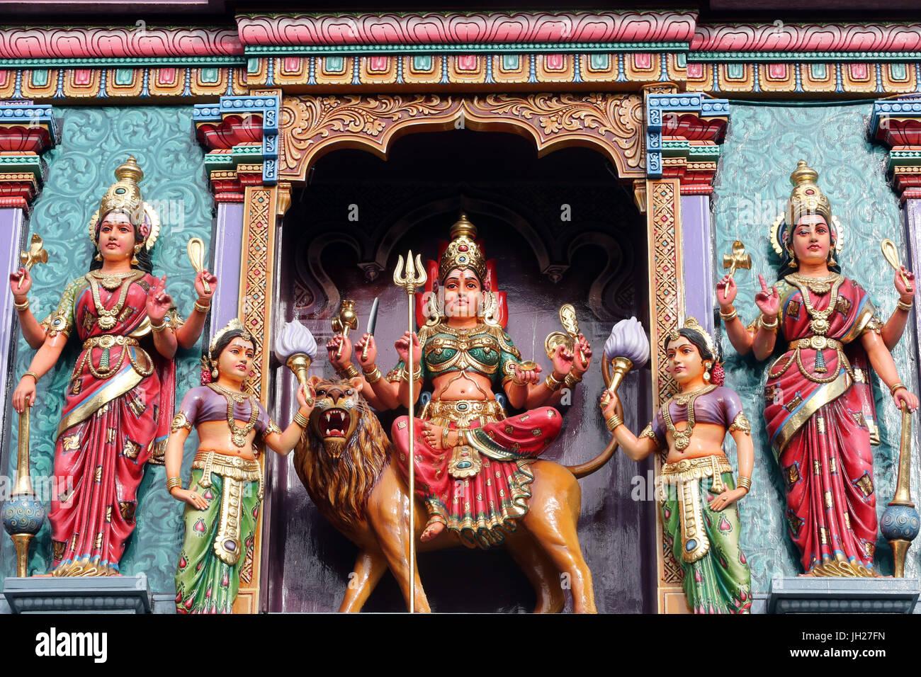 Sri Vadapathira Kaliamman hindu temple. Hindu deities.  Singapore. - Stock Image