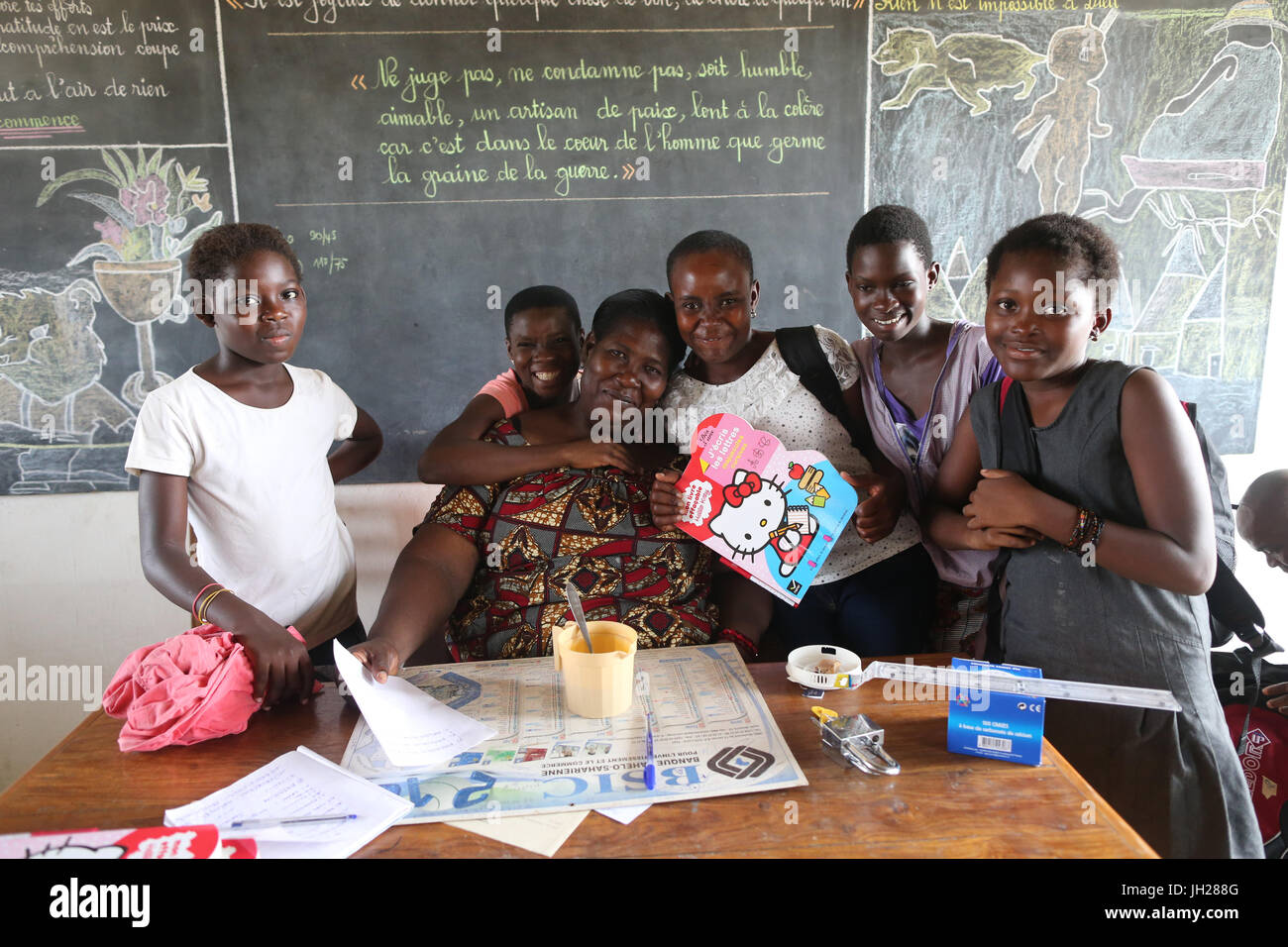 African primary school. Children sponsored by french NGO : la Chaine de l'Espoir. Lome. Togo. - Stock Image