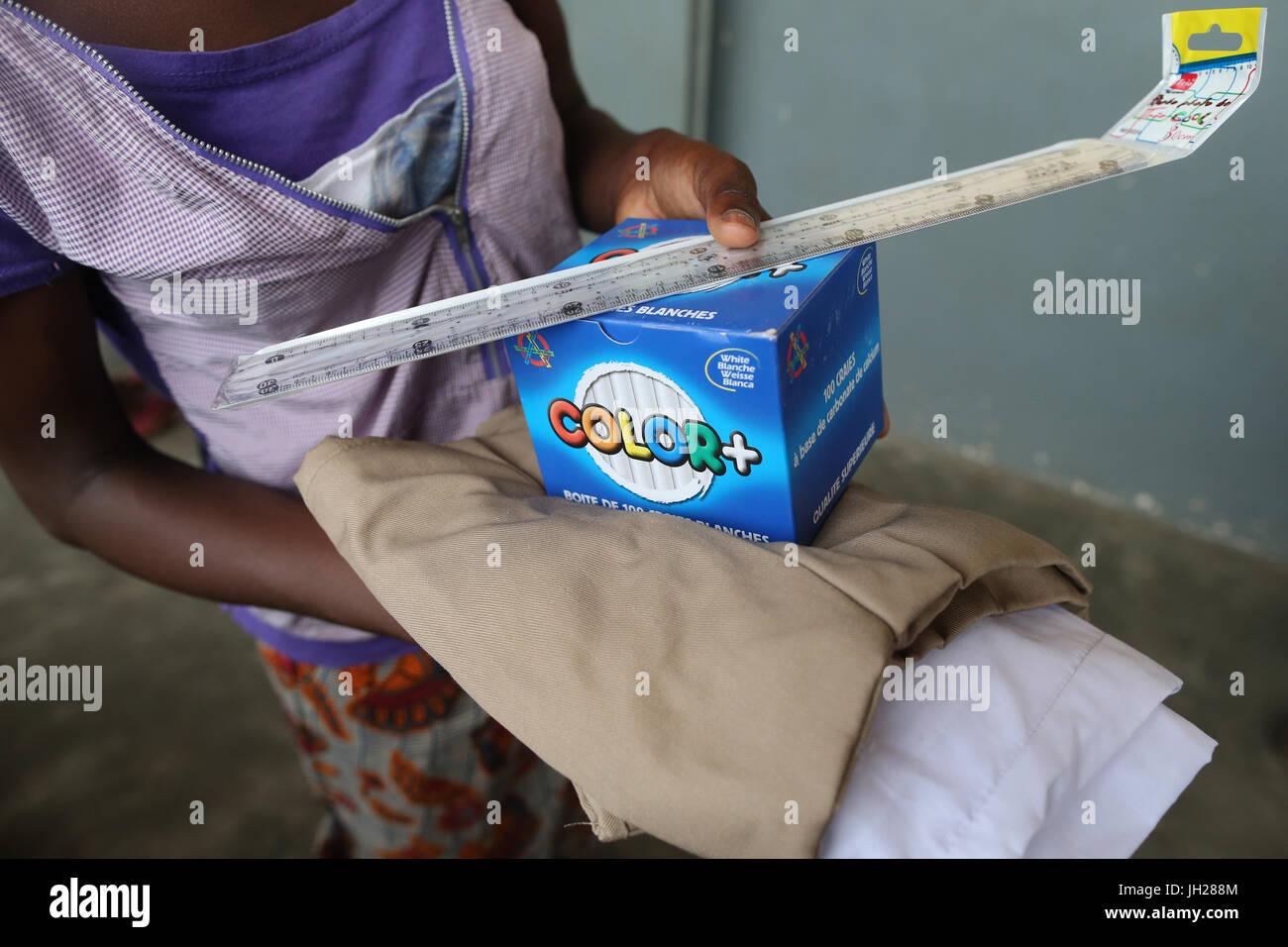 African primary school. Child sponsored by the NGO la Chaine de l'Espoir. Lome. Togo. Stock Photo
