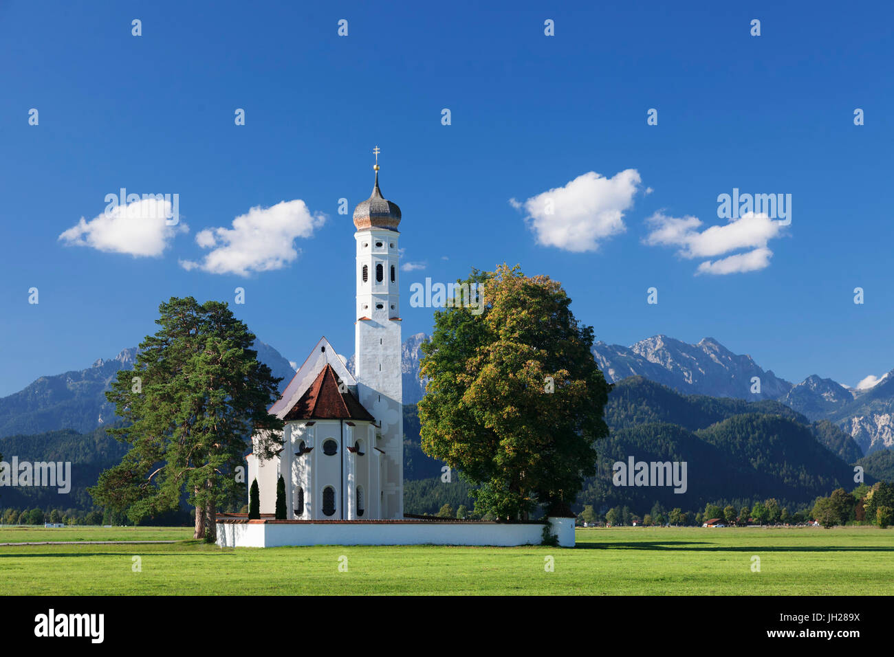 Pilgrim church St. Coloman, Schwangau, Allgau, Allgau Alps, Bavaria, Germany, Europe - Stock Image