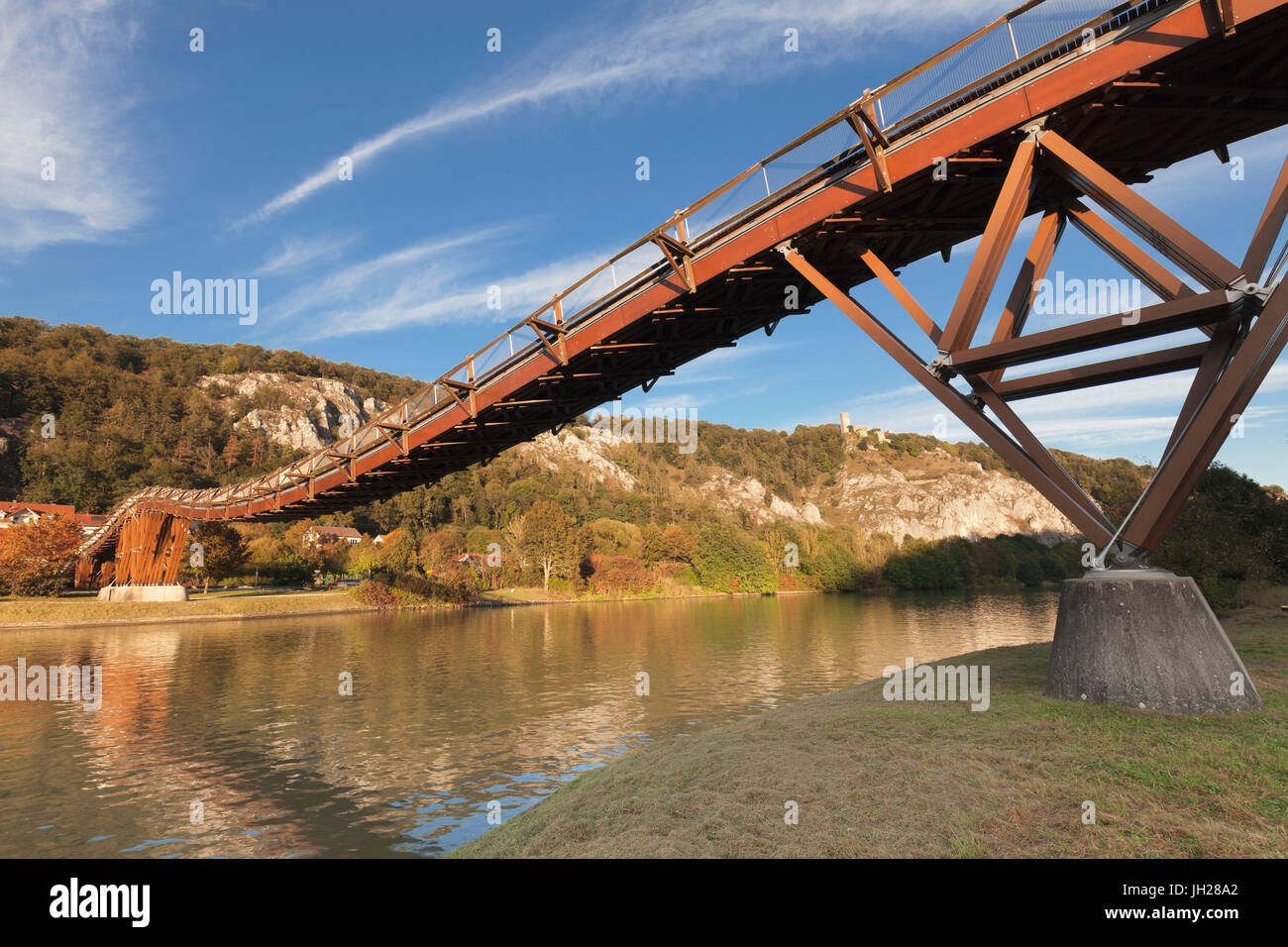 Wooden bridgeTatzelwurm, Main-Donau-Kanal canal, Essing, nature park, Altmuehltal Valley, Bavaria, Germany, Europe - Stock Image