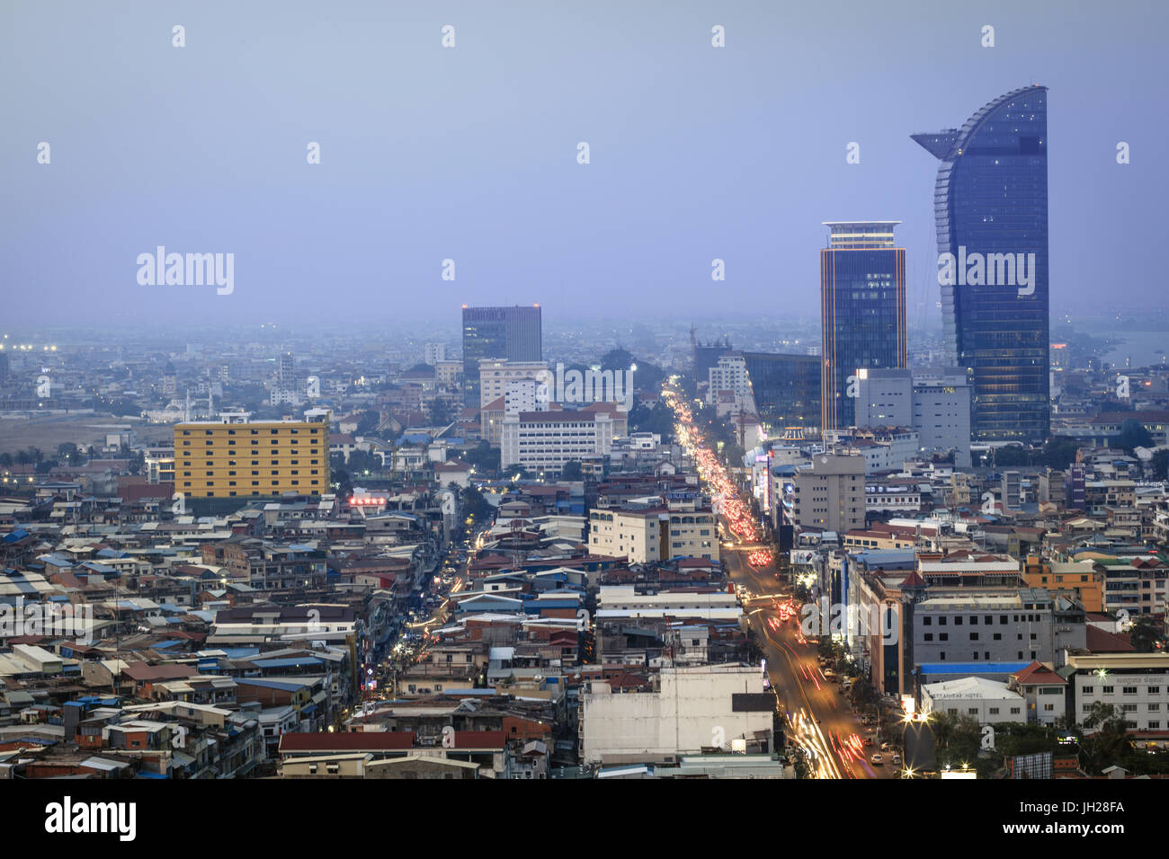 View of the city centre and downtown Central business district, Phnom Penh, Cambodia, Indochina, Southeast Asia, - Stock Image