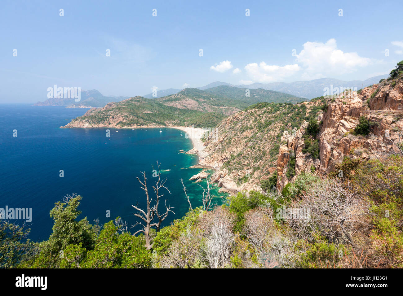 Top view of turquoise sea and sandy beach framed by green vegetation on the promontory, Porto, Southern Corsica, - Stock Image