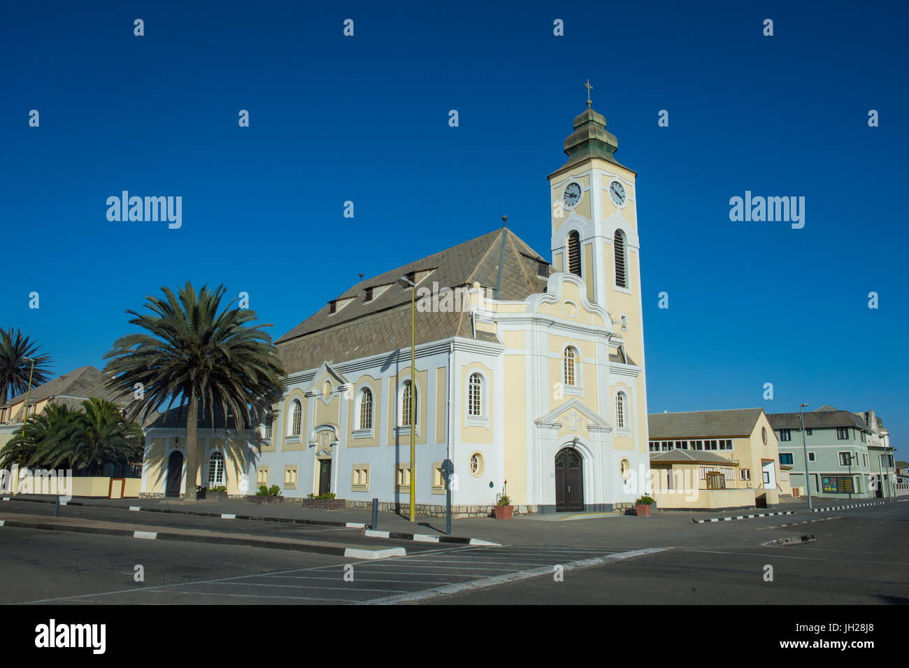 Old German church, Swakopmund, Namibia, Africa - Stock Image