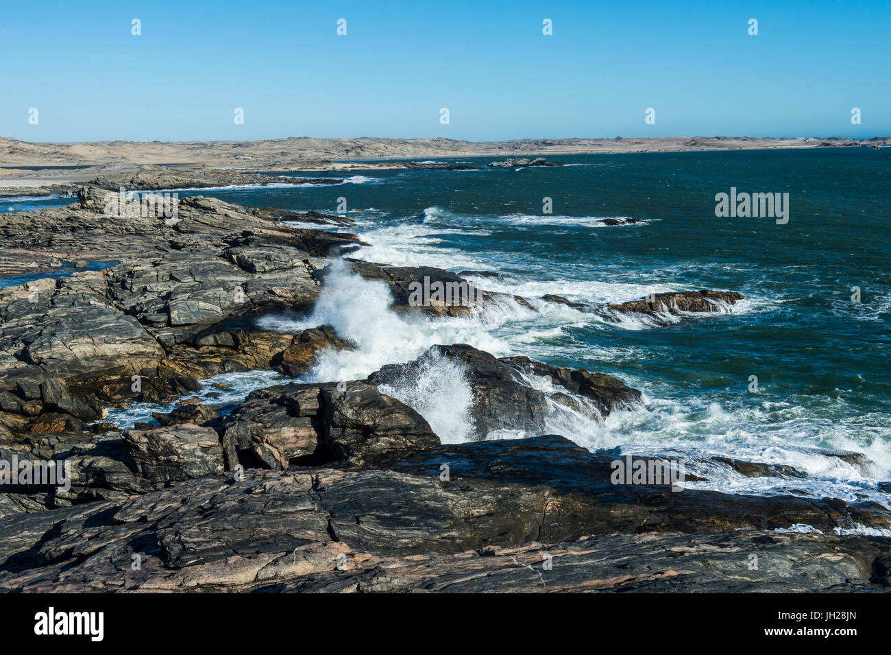 Wild Atlantic coastline on Dias Point, Luderitz, Namibia, Africa - Stock Image