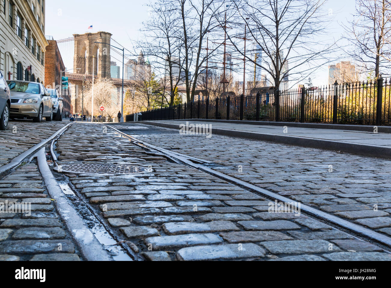 Old rail tracks and cobbled street in Dumbo Historic District, Brooklyn, New York City, United States of America, - Stock Image
